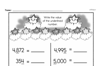 Number Sense - Multi-Digit Numbers Mixed Math PDF Workbook for Second Graders