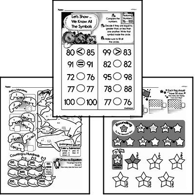 Number Sense - Three-Digit Numbers Mixed Math PDF Workbook for Second Graders