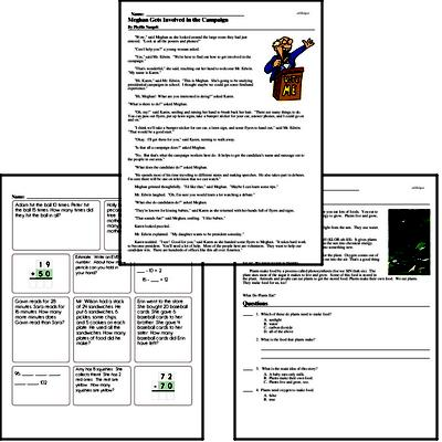 Read and math book for this week.  Different reading comprehension passages for each week.