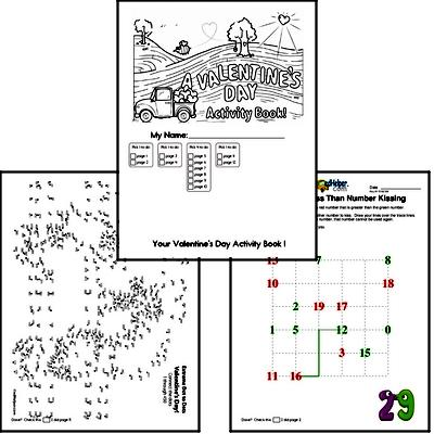 Second Grade Valentine's Day Worksheets Activity Book (more challenging)