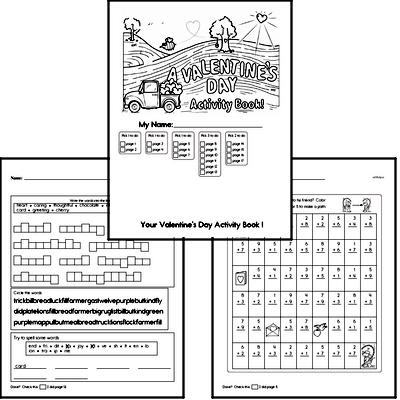 Second Grade Valentine's Day Worksheets Activity Book
