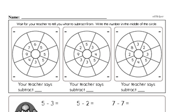 Subtraction Facts Mad Minute Worksheets (subtraction of 2 to 9)