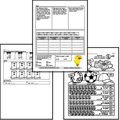Subtraction Mixed Math PDF Workbook for Second Graders