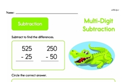 Second Grade Subtraction Worksheets Worksheet #2
