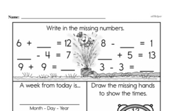 Free Second Grade Time PDF Worksheets Worksheet #13