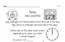 Free Second Grade Time PDF Worksheets Worksheet #3