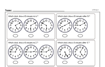 Time Mixed Math PDF Workbook for Second Graders