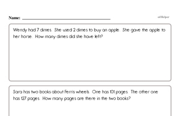 Word Problems Mixed Math PDF Workbook for Second Graders