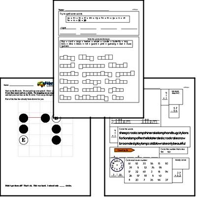 December Fun Packets - Small 5-7 Page Worksheets<BR>Use for homework, in the classroom, or for fast finishers.