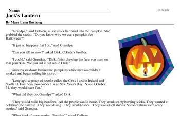 Second Grade Halloween Reading Comprehension Workbook with Math
