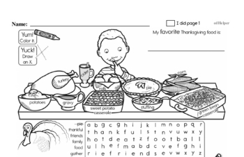 Second Grade Thanksgiving Activity Workbook