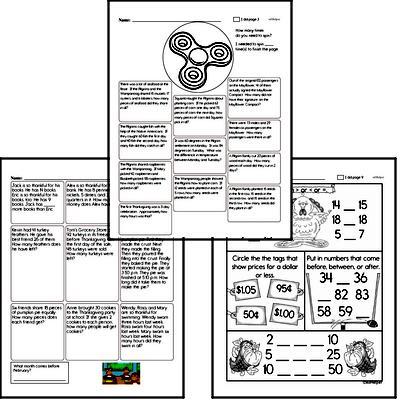Second Grade Thanksgiving Math Challenge Workbook