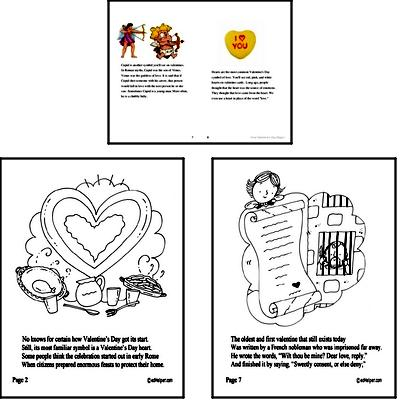 Valentine's Day Reading Comprehension Workbook with Math Worksheets