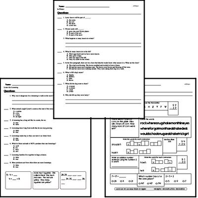 Winter Reading Comprehension Workbook with Math
