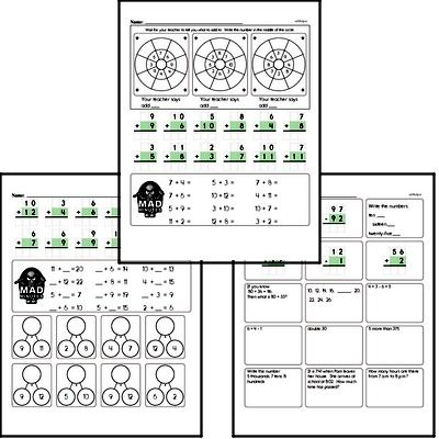 Addition Facts Mad Minute Worksheets (addition of 2 to 12)