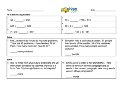 1st Quarter Math Assessment for Third Grade - Few Mixed Review Math Problem Pages
