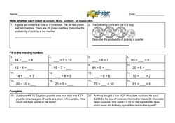 4th Quarter Math Assessment for Third Grade - Few Mixed Review Math Problem Pages