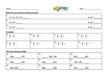 Assessment Mixed Math PDF Workbook for Third Graders