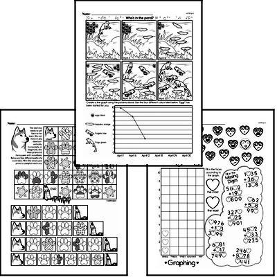 Data Mixed Math PDF Workbook for Third Graders
