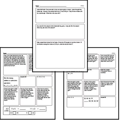 Enrichment Mixed Math PDF Workbook for Third Graders