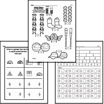 Fractions - Comparing Fractions Mixed Math PDF Workbook for Third Graders
