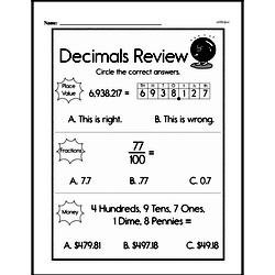 Fractions - Decimal Fractions Mixed Math PDF Workbook for Third Graders