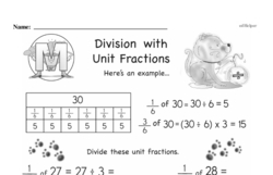 Third Grade Fractions Worksheets - Division with Unit Fractions Worksheet #1