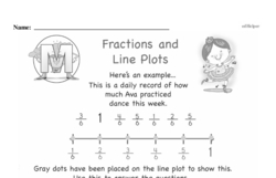 Third Grade Fractions Worksheets - Fractions and Line Plots Worksheet #1