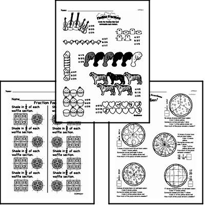 Fractions - Fractions and Parts of a Set Workbook (all teacher worksheets - large PDF)