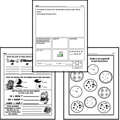 Fractions - Fractions and Parts of a Whole Mixed Math PDF Workbook for Third Graders