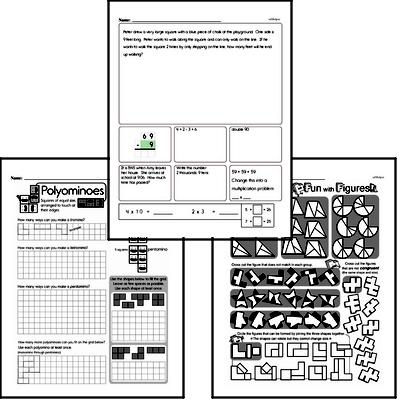 Geometry - 2D Shapes Mixed Math PDF Workbook for Third Graders