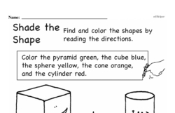 Third Grade Geometry Worksheets - 3D Shapes Worksheet #1