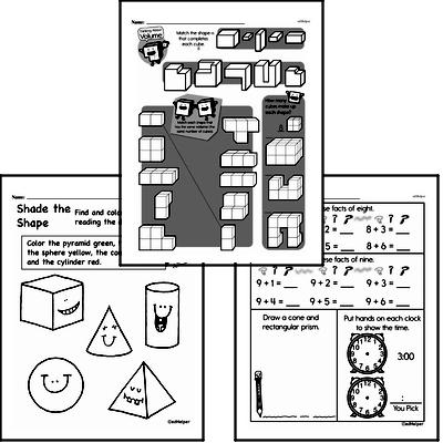 Geometry - 3D Shapes Mixed Math PDF Workbook for Third Graders