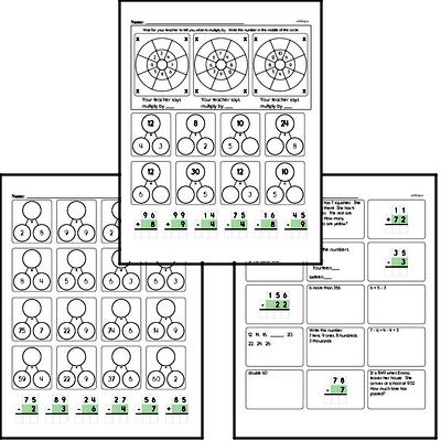 Addition, Subtraction, Multiplication, and Division Mad Minute Timed Addition Math Drill Pages for Third Graders