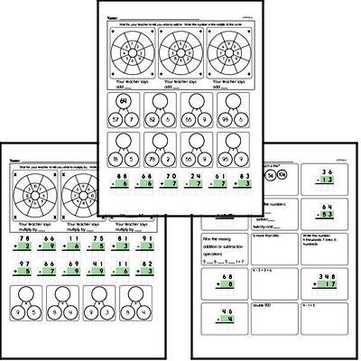 Addition, Subtraction, and Multiplication Mad Minute Timed Addition Math Drill Pages for Third Graders