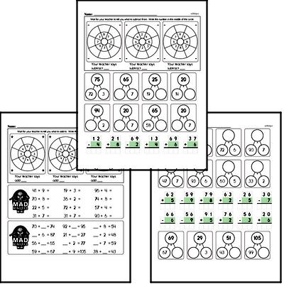 Addition and Subtraction Mad Minute Timed Addition Math Drill Pages for Third Graders