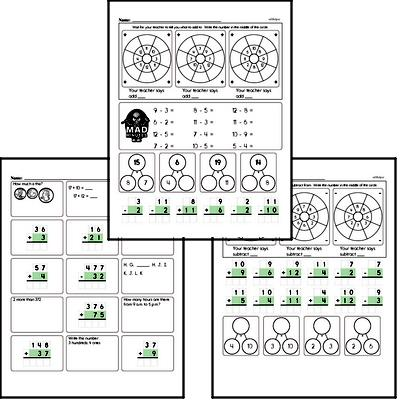 Addition and Subtraction Mad Minute Timed Addition Math Drill Pages for Third Graders (up to 12)