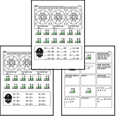 Mad Minute Timed Addition Math Drill Pages for Third Graders (2-digits plus 2-digits)