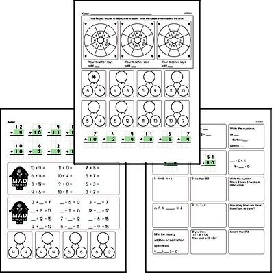 Mad Minute Timed Addition Math Drill Pages for Third Graders (Addition of +2 to +12)