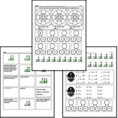 Mad Minute Timed Addition Math Drill Pages for Third Graders (Addition of +2 to +9)