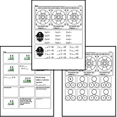 Mad Minute Timed Multiplication Math Drill Pages for Third Graders
