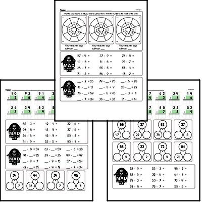 Mad Minute Timed Subtraction Math Drill Pages for Third Graders (2-digits minus 1-digit)