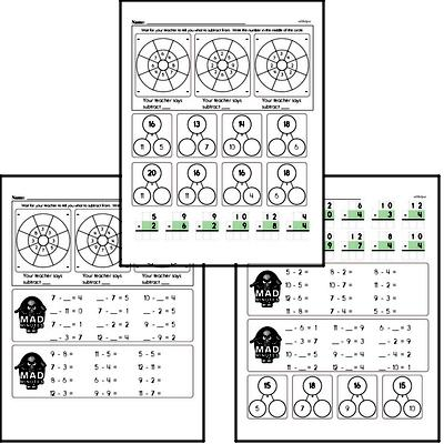 Mad Minute Timed Subtraction Math Drill Pages for Third Graders (Subtraction of -2 to -12)