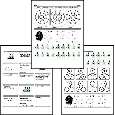 Mad Minute Timed Subtraction Math Drill Pages for Third Graders (Subtraction of -2 to -9)