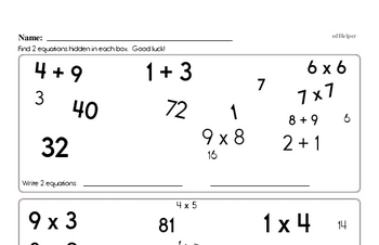 Find the Addition and Multiplication Math Facts