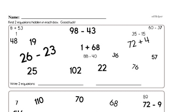 Find the Addition and Subtraction Math Facts (larger numbers)