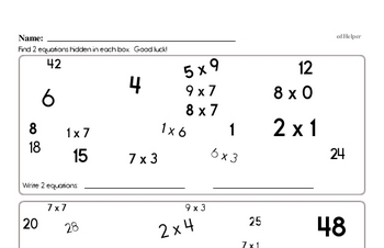 Find the Multiplication Math Facts