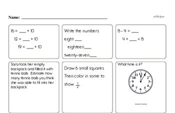 Math Minutes Workbook (all teacher worksheets - large PDF)
