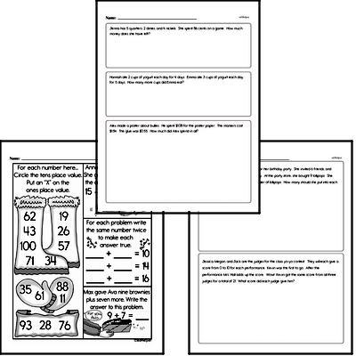 Math Word Problems - Single Step Math Word Problems Mixed Math PDF Workbook for Third Graders