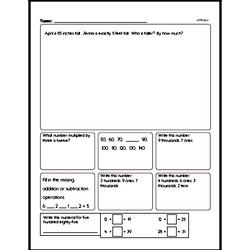 Measurement - Measurement and Equivalence Mixed Math PDF Workbook for Third Graders